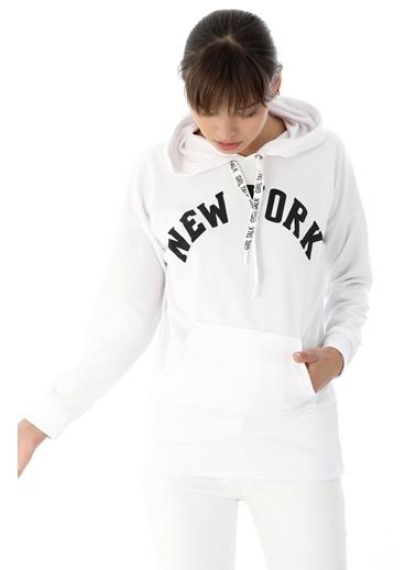 Emjey New York Baskılı Sweat Beyaz